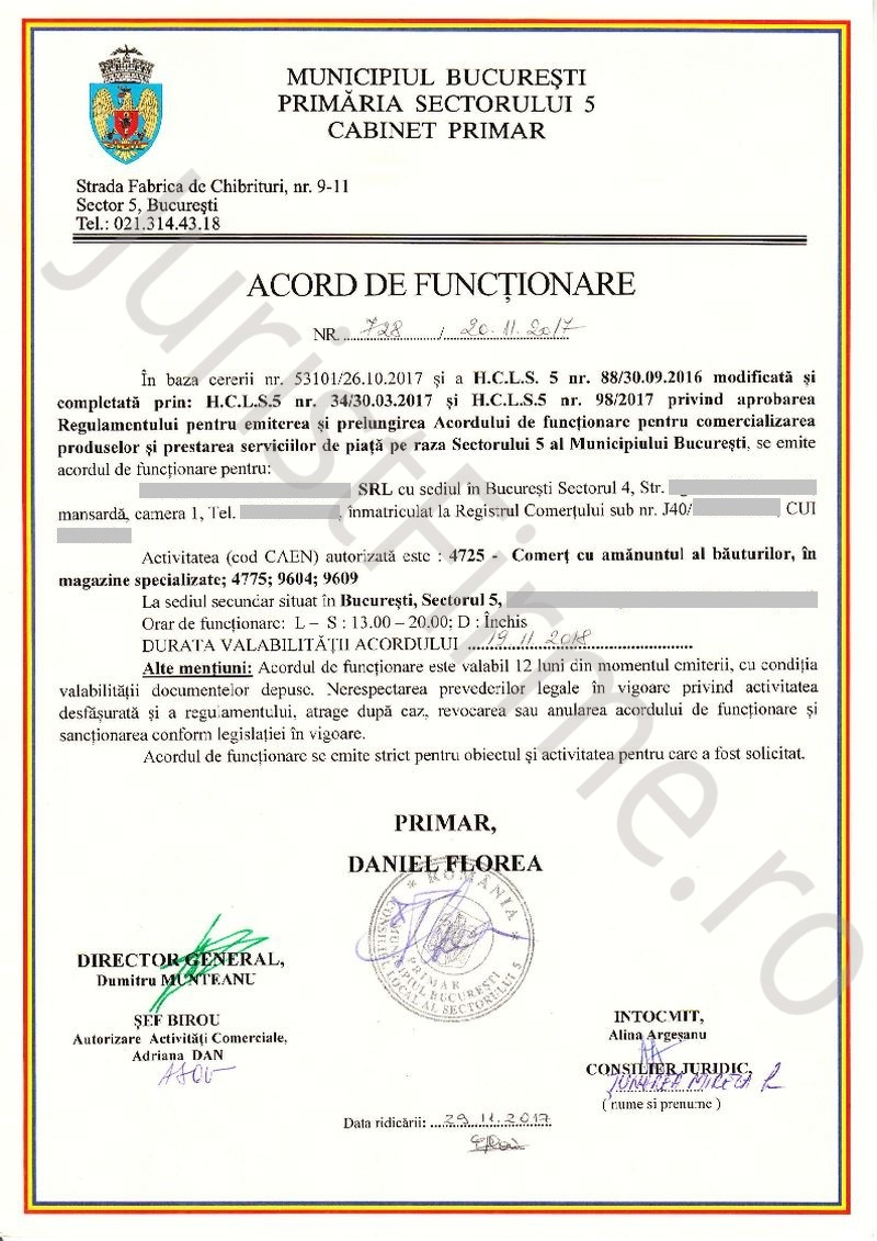 Acord de Functionare emis de Sectorul 5