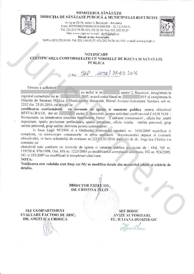 Notificare de Certificare a Conformității cu normele DSP
