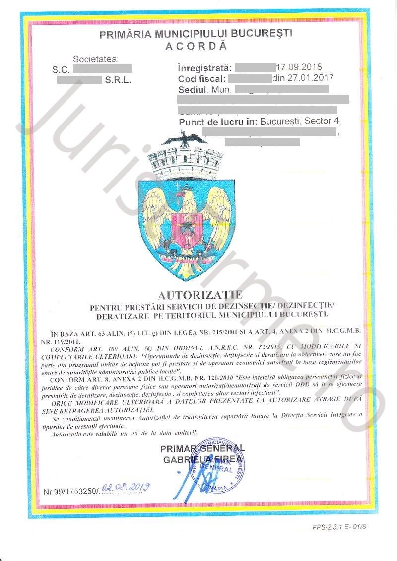 Autorizatie servicii DDD (față) Bucuresti