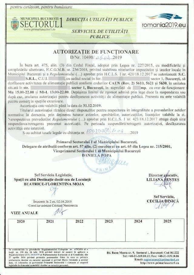 Autorizația de Funcționare Sector 1